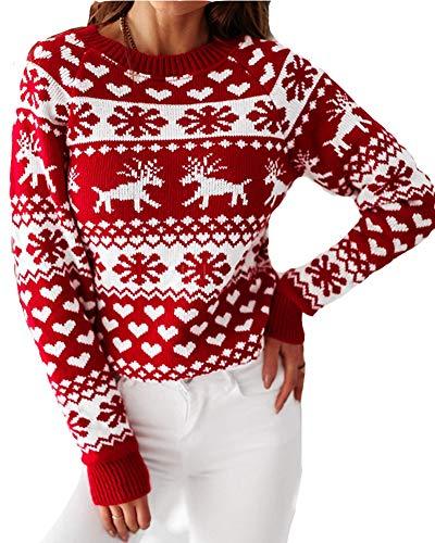 Jersey Navideño Jersey Copos de Nieve de Renos de Punto para Mujer Suéter de Navidad de Manga Larga y Cuello Redondo Rojo S