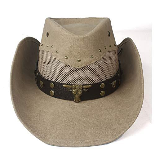 RedAlphabet Chapeau de Cowboy Occidental for Hommes en Cuir 100% Cuir des Femmes Sombrero Chapeau de Plein air à Larges Bords Hombre Chapeau de Cow-Girl Adulte (Color : Khaki, Size : 58-59cm)
