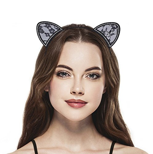 Lux Accessories Halloween Black Lace Cat Ear Cosplay Party Costume Accessory Headband 1