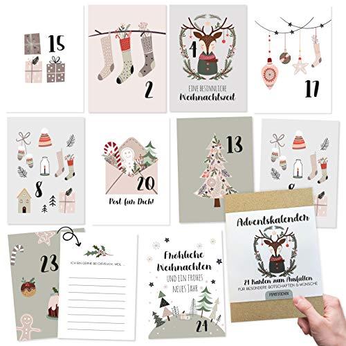 Papierdrachen Adventskalender zum Basteln und Verschenken | 24 Karten zum Gestalten | Geschenkidee in der Vorweihnachtszeit für Frauen und Männer | mit liebevollen Motiven zum Aufhängen | Hygge