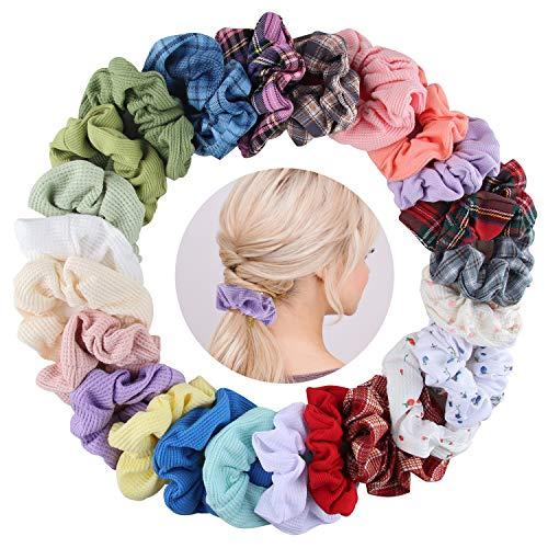 24 Stück Haargummis Reine Baumwolle Scrunchies, Elastischer Haar Haarbänder Gummibänder, Bunte Haarschmuck Haarseil für Mädchen Damen Frauen Pferdeschwanz (24PCS)