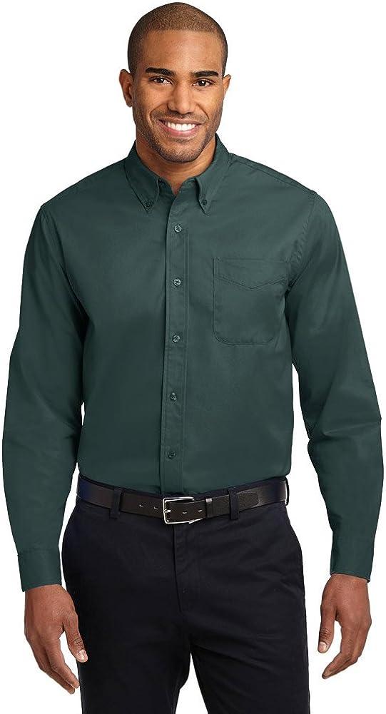 Port Authority Tall Long Sleeve Easy Care Shirt, Dark Green/Navy