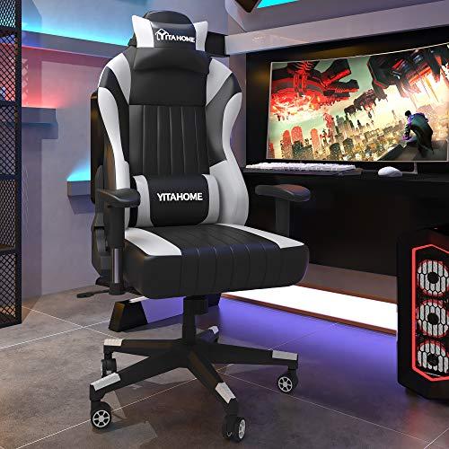 YITAHOME Gaming Stuhl Bürostuhl PC Stuhl Schreibtischstuhl Racing Stuhl, Ergonomischer Spielstuhl mit Kopfstütze und Lendenwirbelstütze, 402lbs Belastbarkeit, PU-Leder, Schwarz-Werß