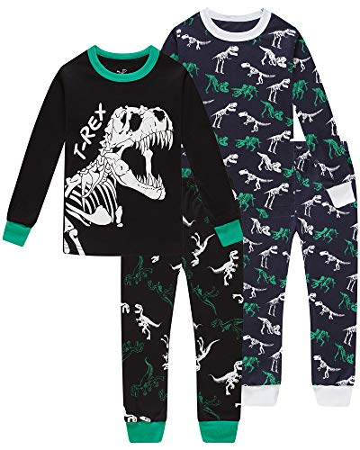 Pajamas for Boys Girls Grow in The Dark Dinosaurs Sleepwear Christmas Baby Clothes 4 Pieces Pants Set 7t