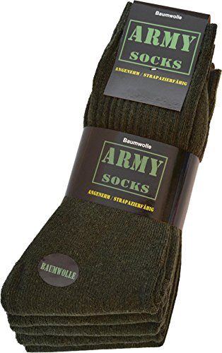 normani 25 Paar Army Sportsocken aus strapazierfähiger Baumwolle Farbe Grün Größe 43/46
