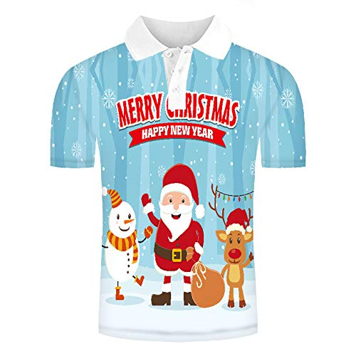 Herren 3D Druckten Kurzarm Poloshirt, Hawaiihemd Lustig Shirt für Täglich Urlaub T-Shirt, Oberteil für Männer, Herrenshirt Lässiger Klassiker bequem atmungsaktiv, Cartoon Frohe Weihnachten, XL