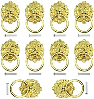 TOVOT 10 pcs Dresser Drawer Cabinet Door Ring Head Pulls Antique Lion Head Pulls Knob (Golden)