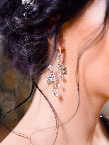 FXmimor Boucles d'oreilles en forme de feuille de cristal