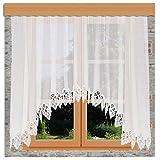 kollektion MT Hübscher Blumenfenster-Store Jette weiß mit 12 cm breitem Spitzenabschluss aus Echter Plauener Spitze mit Reihband Fertiggardine