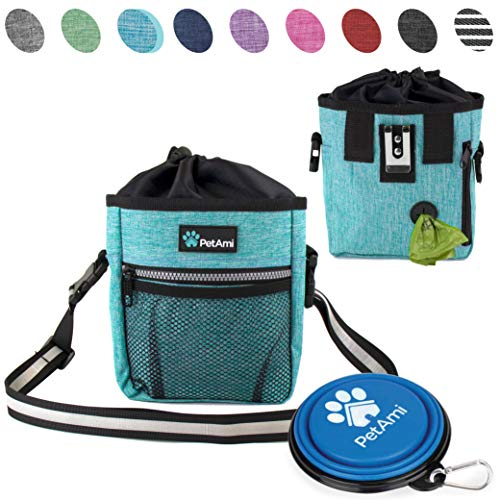 PetAmi Dog Treat Pouch | Dog Training Pouch Bag with Waist Shoulder Strap, Poop Bag Dispenser and Collapsible Bowl | Treat Training Bag for Treats, Kibbles, Pet Toys | 3 Ways to Wear (Turquoise)