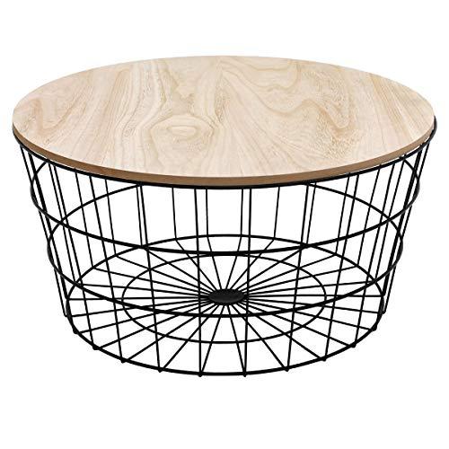 ECD Germany Runder Design Beistelltisch Ø 67 x 34 cm mit Abnehmbarer MDF-Holz Natur Platte und Metallkorb Schwarz im skandinavischen Stil - Couchtisch Sofatisch Wohnzimmertisch Korbtisch Tisch Korb
