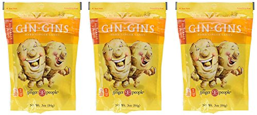 commercial Ginger People Gin-Gins Natural Hard Candy 3oz Double Strength Pack – (3 Packs) ginger candy