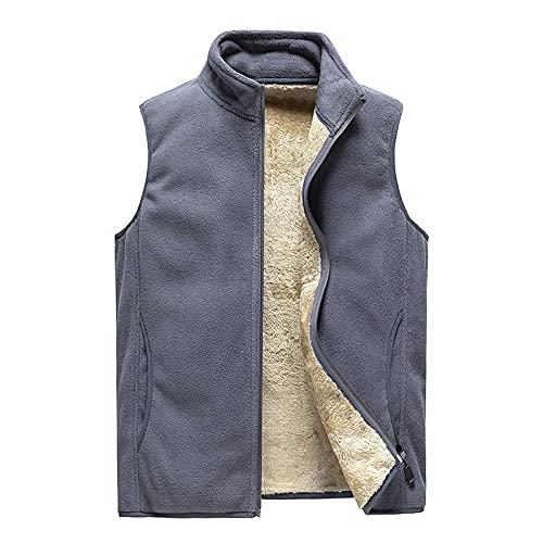 Chaleco de invierno para hombre, chaleco de forro polar para pesca, cálido, resistente al viento, chaleco al aire libre con bolsillos, gris, M