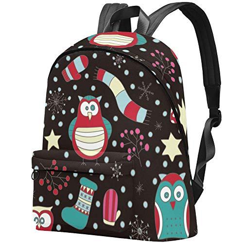 Weihnachten Winter Schneeflocke Eule Baum Fäustlinge Socken Muster Bag Teens Student Bookbag Leichte Umhängetaschen Reiserucksack Tägliche Rucksäcke