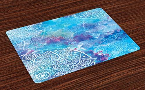 Mandala Place Mats Set de 4, ilustraciones de acuarela de diseño floral redondo con diseño de cepas de color, manteles individuales de tela lavables para la decoración de la mesa de la cocina del come
