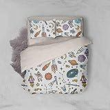 3D Cartoon Rocket Planetary Astronaut Duvet Cover Sets Pillowcases 3 pcs, Bedroom Decor Quilt Cover Sets, Comforter Cover,California King Queen Full Twin Size 869 LQH (Queen)