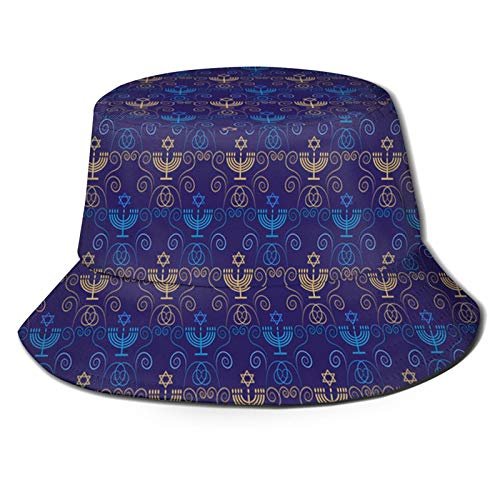 Hanukkah Chanukah Jewish Holiday Bucket Sun Hat for Men & Women,UPF 50 Boonie Hat,Sun Protection Hat, Fishing Hat, Beach & Hiking Hat, Paddling, Rowing, Kayaking Hat