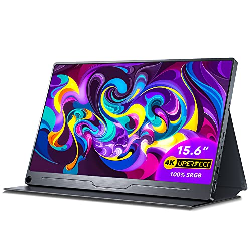 """UPERFECT Truely 4K Computer Monitor, 15.6"""" IPS UHD 3840X2160 USB C Monitor[100% sRGB Wide Color Gamut], HDR FreeSync Speaker Type-C HDMI OTG VESA Portable Monitor for Laptop PC Phone, Stand Smart Case"""
