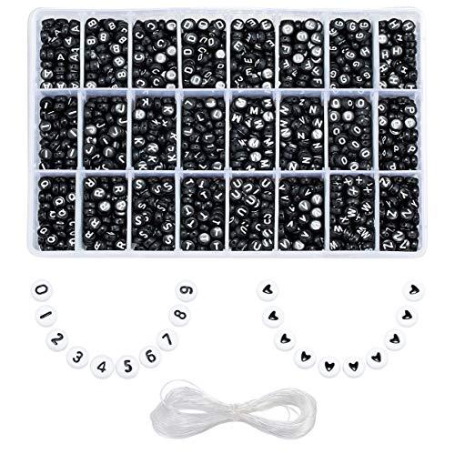 YouFia 2220 Stück Perlen Buchstaben zum Auffädeln 7x4mm Buchstabenperlen A bis Z, Zahlenperlen 0 bis 9,Herzperlen mit Schmuckfaden Spacer Perlen für Namensbändchen (Schwarz)