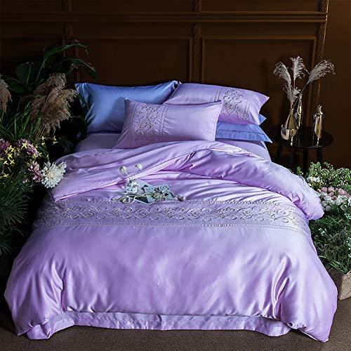 FGDSA Bedding Set, King Size Pure Silk 4pcs Bedding Sets Home Textile King Size Bed Bed Cloth Jacquard Classic Design