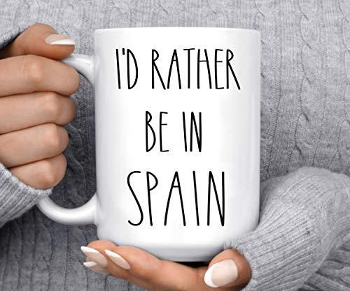 Lplpol Taza de café y té con texto en inglés 'I'd Rather Be in Spain'