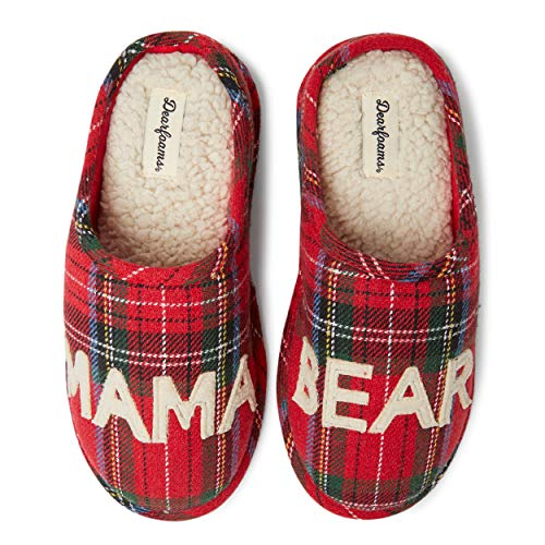 Dearfoams Women's Family Collection Mama Bear Tartan Clog Slipper, Red Plaid, X-Large