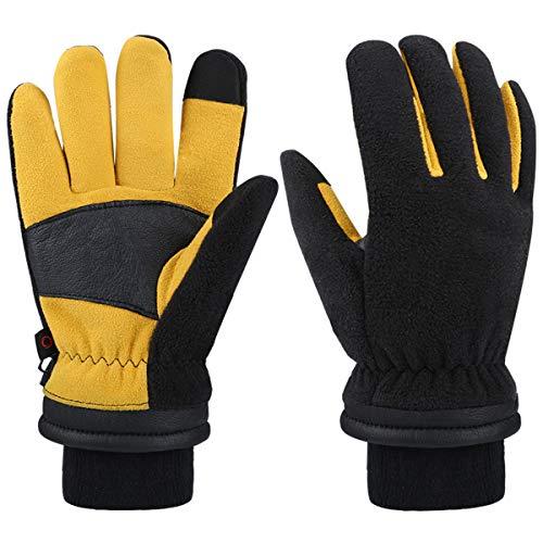 CCBETTER Winterhandschuhe für Männer Frauen Handschuh für Bedienung eines Touchscreens -30° Warme Arbeit Kaltes Wetter Hirschleder/Wärme-Fleece 2019 neu
