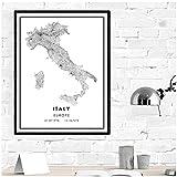 FUXUERUI Blanco y negro Europa Italia país mapa lienzo pared arte cartel e imágenes para decoración de sala de estar,40x60cm sin marco