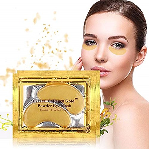 10/20/30/50/60/80/100 pairs wholesale New Crystal 24K Gold Powder Gel Collagen Eye Mask Masks Sheet Patch, Anti Ageing Aging, Remove Bags, Dark Circles & Puffiness, Skincare, Anti Wrinkle, Moisturising, Moisture, Hydrating, Uplifting, Whitening, Remove Blemishes & Blackheads Product. Firmer, Smoother, Tone, Regeneration Of Skin. Suitable For Home Use Hot or Cold. (20 pairs) by Hitece