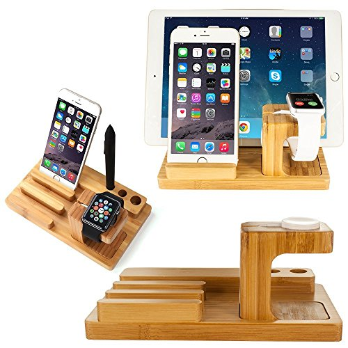 3 in 1 Wooden Desktop Stand Holder Charger Docking Station For Apple iWatch, iPhone & iPad