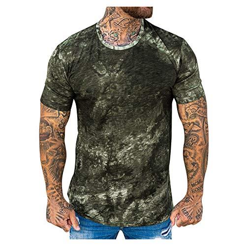 neiabodos Camiseta de manga corta para hombre, color liso, informal, de verano, de manga corta, Verde, XL