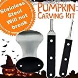 Pumpkin Carving Tools Kit - 37 PIECES - 30 STENCILS - 5 TOOLS - 2 LIGHTS - Pro Level Stainless Steel...