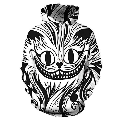 Gato Abstracto de Dibujos Animados Unisexo Sudaderas con Capucha 3D Impresa Manga Larga Colorida Novedad Hoodie Suéter Deporte Capucha-3XL
