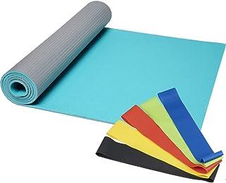 FUN FAN LINE - Accessoires de Gym à Domicile : Tapis de Yoga - 2 Bouteilles d'haltères de 0,5 kg chacune - 5 Bandes élasti...