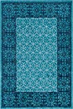 Well Woven Casa Tuscany Light Blue & Grey Modern Classic Mediterranean Tile Border Floral 3x5 (3'11' x 5'3') Area Rug Soft Shed Free Easy to Clean Stain Resistant
