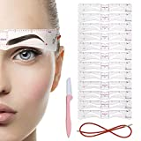 12 Eyebrow Stencil,Eyebrow trimmer,Reusable Template With Strap,12 Styles Extremely Elaborate Eyebrow Template Stencils