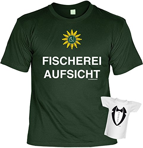 Angler T-Shirt Fischerei-Aufsicht Angel-Shirt Gruen Bedruckt Geschenk-Set mit Mini Flaschenshirt