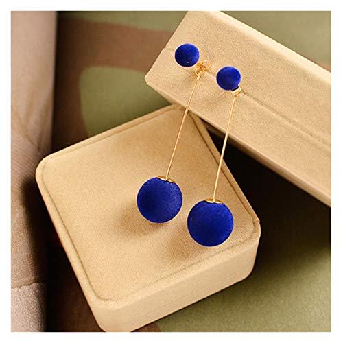 JINGGEGE 1 par Moda Bola de Pelo Artificial cuelga Pendiente para Las Mujeres Lindo Blanco pompón Pendiente niña Bonitos Regalos (Metal Color : Blue)