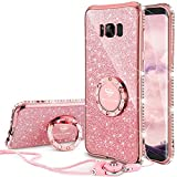 OCYCLONE Galaxy S8 Case, Glitter Luxury Cute Phone Case for Women Girls with Kickstand, Bling Diamond Rhinestone Bumper with Ring Stand Compatible with Galaxy S8 Case for Girl Women - Rose Gold
