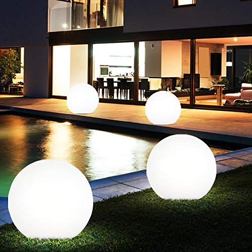 4x LED Solar Sphere Ground Spike Lamps Spie da giardino Luci Cortile Spot da esterno D 15cm, 20cm, 25cm, 30cm