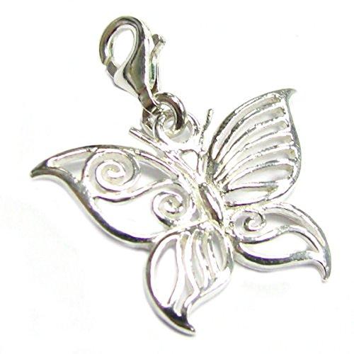 Queenberry de plata de ley pendientes largos con forma de mariposa colgante de filigrana de estilo...