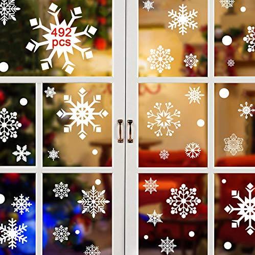 492pcs Schneeflocken Fensterbilder Fensterdeko Weihnachten Weihnachtsdeko Statisch Haftende Aufkleber Türaufkleber Weihnachtssticker für Türen Schaufenster Vitrinen Glasfronten Christmas Aufkleber