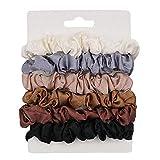 MARIJEE Juego de 6 colores elásticos lazos para el pelo de seda de satén coletero de cola de caballo accesorios