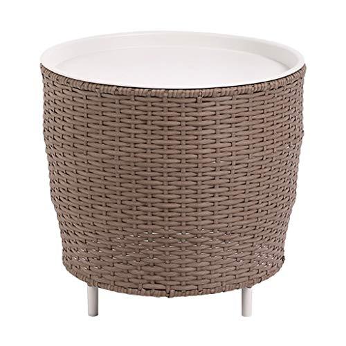 AKaCe-Tavolini da caffè Tavolino Personalizzata con Funzione di Storage, Rattan Tessitura, Open Table, for la Decorazione Domestica, immagazzinaggio, Round, Bianco