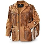 Men's Traditional Cowboy Western Leather Jacket Coat with Fringe (XX-Large) Brown