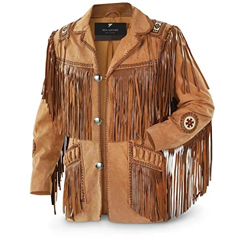 Men's Traditional Cowboy Western Leather Jacket Coat with Fringe (Large) Brown