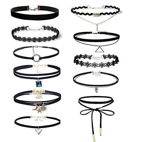 Mingjun 11piezas para mujer piel de terciopelo negro Gargantilla Collar para las mujeres niñas cordones Gótico tatuaje Fashion Sexy collares