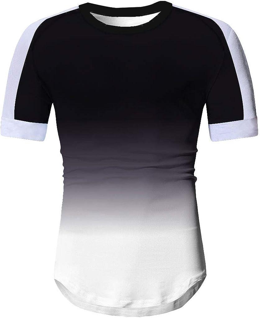 Gergeos Men's Casual Shirts Fashion O-Neck Striped Gradient Patchwork Short Sleeve Summer T-Shirt