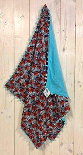 Toalla Kikoy Red Hibiscus con pompón, 90 x 170 cm, toalla de playa