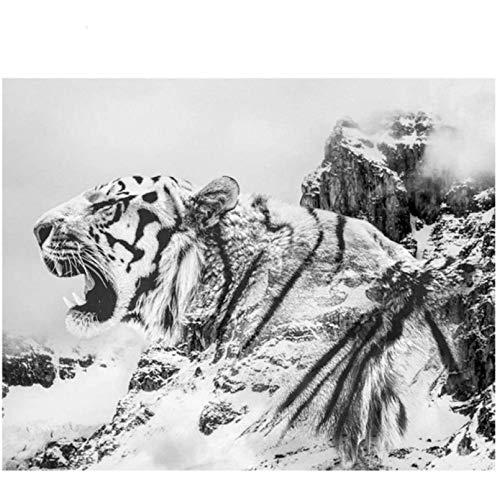 ZHONGYU Diy Diamond Embroidery Animal Tiger Black White Art Diamond Painting Cross Stitch Full Square Diamond Mosaic Hobby Crafts(40 × 50 CM)